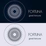 Design templates in blue and grey colors. Creative mandala logo, icon, emblem, symbol. Stock Photo