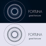 Design templates in blue and grey colors. Creative mandala logo, icon, emblem, symbol. Stock Image