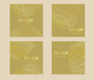 Design templates business cards, flyers, invitations, abstract gold flowers Doodle Royalty Free Stock Photography