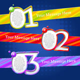 Design templates with numbers and striped banners Stock Image