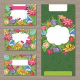 Design templates with spring flowers for business Royalty Free Stock Photography