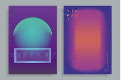 Design templates with vibrant gradient shapes. Set of poster covers with color vibrant gradient background. Trendy modern design. Vector templates for placards Stock Photography