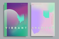 Design templates with vibrant gradient shapes. Set of poster covers with color vibrant gradient background. Trendy modern design. Vector templates for placards Stock Photo