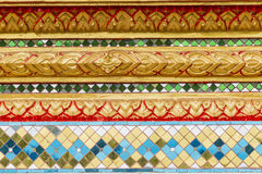 Design of thai style in Thai temple wall art. Thai Temple Wall Art pattern Royalty Free Stock Image