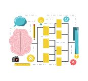 Design thinking concept. Conceptual map with design thinking related icons over white background colorful design vector illustration Royalty Free Stock Images
