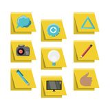 Design thinking concept. Design thinking related icons over yellow squares and white  background colorful design vector illustration Stock Photos