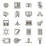 Design Thinking Signs Black Thin Line Icon Set. Vector. Design Thinking Signs Black Thin Line Icon Set Include of Computer, Target, Technology, Perspective Royalty Free Stock Image