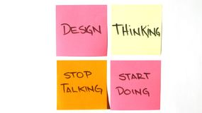 Design thinking stop talking, start doing post it royalty free stock photography