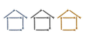Design of three houses from bolts Stock Photography