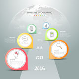 Design timeline infographic template. Business concept 6 options Royalty Free Stock Photos