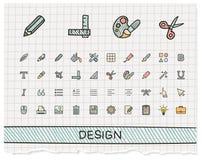 Design-Tool-Handzeichnungslinie Ikonen Stockfotos