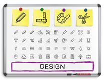 Design-Tool-Handzeichnungslinie Ikonen Stockbild