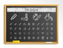 Design-Tool-Handzeichnungslinie Ikonen Kreideskizzen-Zeichenillustration auf Tafel Stockfotografie