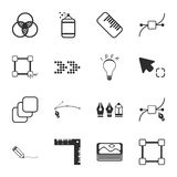 Design tool 16 icons universal set for web and mobile. Flat Stock Illustration
