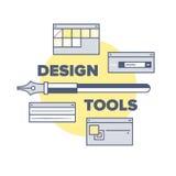 Design-Tool- und Ausrüstungsillustrationskonzept Lizenzfreie Stockfotos