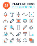 Design Tools. Abstract vector collection of flat line design tools icons. Elements for mobile and web applications Stock Photo