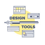 Design tools and equipments illustration concept Royalty Free Stock Photos