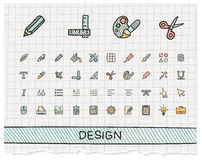Design tools hand drawing line icons Stock Photos