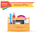 Design Tools in Wood Box Graphic Tablet Stock Images