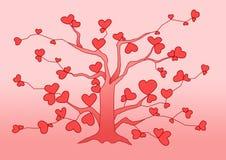 Design tree heart pink on pink background royalty free illustration