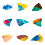 Design triangle, leaves, liver, eyes, circular arr Royalty Free Stock Photo
