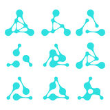 Design triangle logo element. Abstract molecule vector template set. You can use in biotechnology, energy, environmental protection, water and electricity Stock Photography
