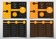 Design of triple folding menus for cafes and restaurants. Royalty Free Stock Photo