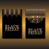 Design två av kortet för svarta fredag Arkivfoton