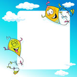 Design with two flying kite - vector illustration frame Royalty Free Stock Image