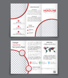 Design of the two Un folding brochure with red elements Royalty Free Stock Photo