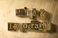 Design & Typography - Metal letterpress lettering sign Royalty Free Stock Photos