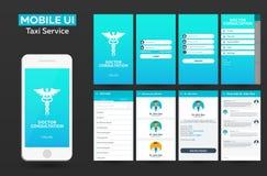 Design UI, UX, GUI för konsultation för mobilapp-doktor online-materiell Svars- website Arkivbilder