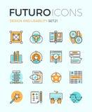 Design und Brauchbarkeit futuro Linie Ikonen Lizenzfreies Stockbild
