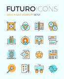 Design and usability futuro line icons royalty free illustration