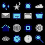 Design useful web icons on black background Royalty Free Stock Photo