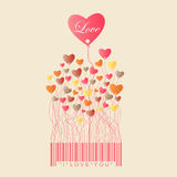 Design for Valentine's Day with color full Heart grow from the stock illustration