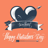 Design Valentines day illustration and typography elements on red background. Stock Photo