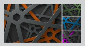 Design a vector background with lines and an octagon on the intersection points and at different height levels. Template of the backdrop with a tangled web of Royalty Free Stock Image