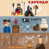 design vector banners with caveman,pirate and native americ Royalty Free Stock Photos