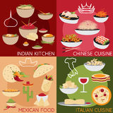 design vector banners with italian,mexican chinese and indi Royalty Free Stock Images