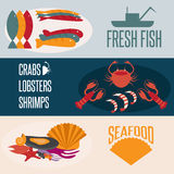design vector banners with seafood theme Royalty Free Stock Photography