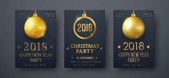 Design of vector black posters with golden christmas balls Stock Photography