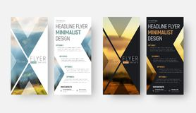 Design of a vector flyer in a minimalist style with a place. For a photo. Template of narrow vertical brochures of black and white with triangular elements stock illustration