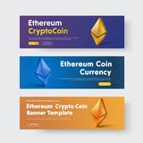 Design of vector horizontal web banners with gold 3d icon of cry. Pto currency - Ethereum. Templates of blue, orange and purple with headings and a button. Set Stock Images