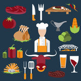 design vector icons of steak house food elements and chef Stock Images