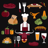 design vector icons of steak house food elements and chef Royalty Free Stock Image