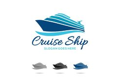 Cruise Ship. Design a vector illustration of Cruise Ship in a blue ocean, isolated on white background vector illustration
