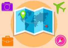 Travelling map illustration around world. Design vector of an illustration holiday journey Stock Image