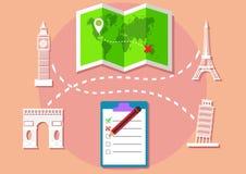 Europe travelling illustration landmark object. Design vector of plan for trip around world Stock Images