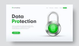 Design of vector site header for information protection with chr. Ome lock and finger fingerprint. A template of a white web banner with green buttons Stock Photography